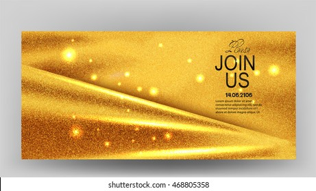 Invitation card with sparkling gold fabric. Vector illustration