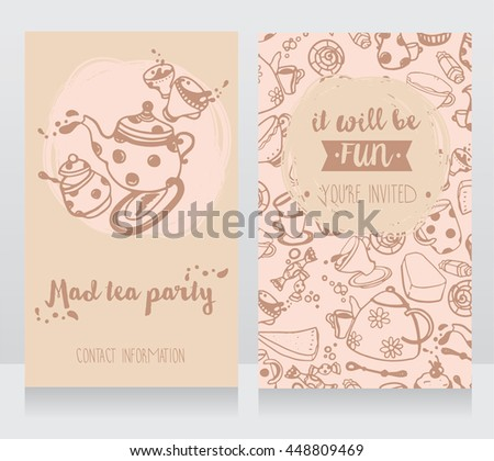 Invitation Card Tea Party Cute Business Stock Vector Royalty Free