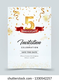 Invitation card template of 5 years anniversary with abstract text vector illustration. Greeting card template