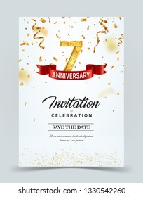 Invitation card template of 7 years anniversary with abstract text vector illustration. Greeting card template