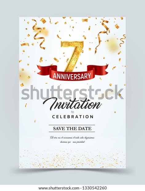 Invitation Card Template 7 Years Anniversary Stock Vector