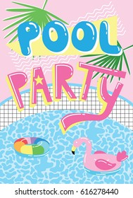 Invitation card template with cute cartoon pool float flamingo. Pool party illustration.