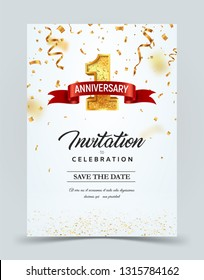 Invitation card template to the day of the 1 anniversary with abstract text vector illustration. Golden number 1 with red ribbon on falling down confetti background. Greeting card template