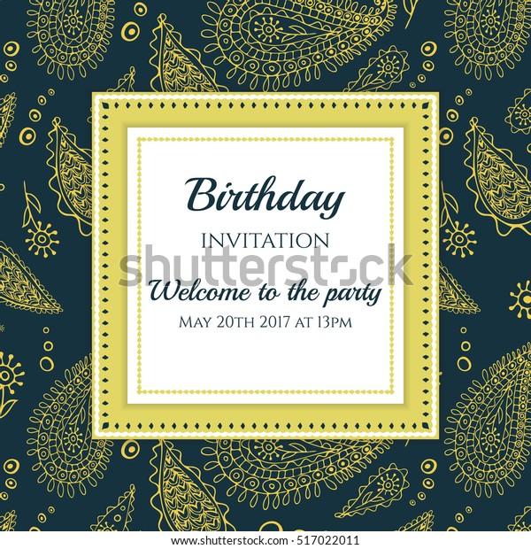 Invitation Card Template Decorative Paisley Background Stock