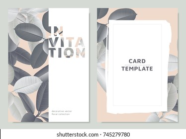 Invitation card template design, gray Ficus Elastica leaves on light pink background with white frame