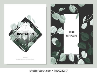 Invitation card template design, green silver dollar eucalyptus leaves collage on black and white