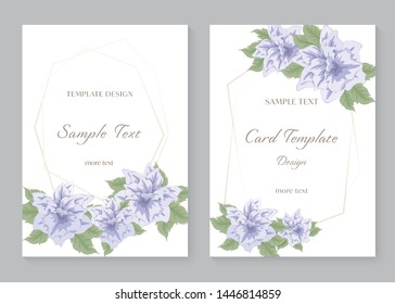 Invitation card template design vector background with purple flowers bouquet, Beautiful floral and leaf branch, decorative vertical rectangle frame.Greeting card for wedding, congratulation concepts.