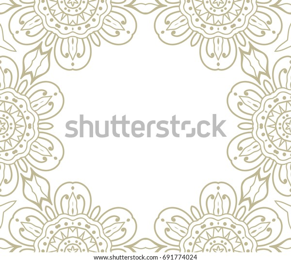 Invitation Card Template Doodle Lace Border Stock Vector