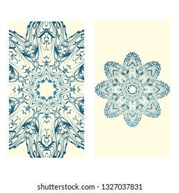 Invitation Or Card Template With Floral Mandala Pattern. Decorative Background For Wedding, Greeting Cards, Birthday Invitation. The Front And Rear Side. Milk blue color.