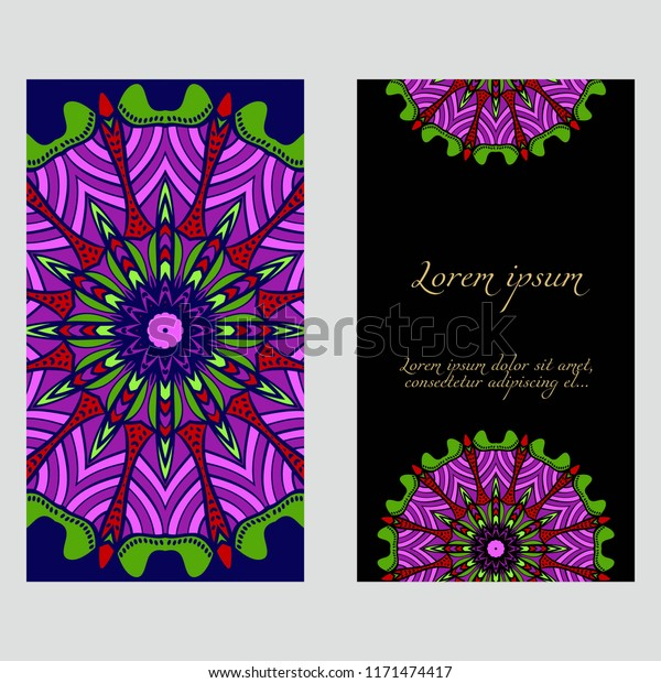 Invitation Card Template Floral Mandala Pattern Stock Vector ...