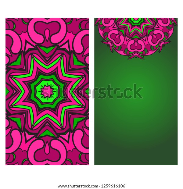 Invitation Card Template Floral Mandala Pattern Stock Vector ...