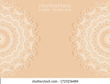 Invitation or Card template with lacе frame border, doodle line pattern, mandala element. Decorative openwork filigree art background for Wedding, Valentine's day greeting card, Birthday Invitation
