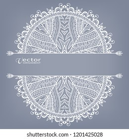 Invitation or Card template with geometric line border, lace pattern, mandala element. Decorative openwork filigree art, linear background for Wedding, Valentine's day cards, Birthday Invitations