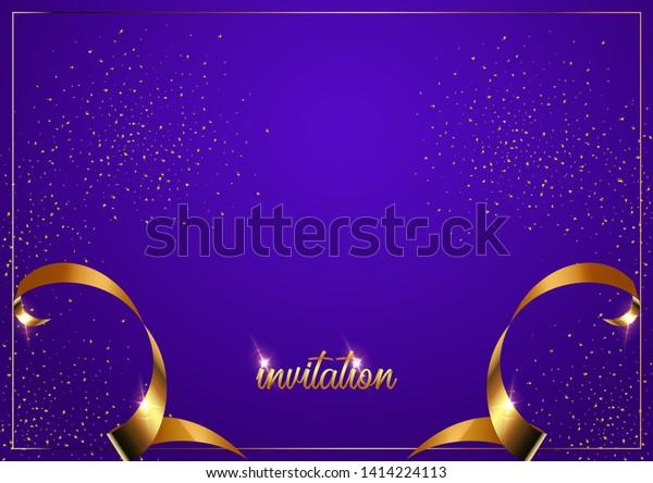 Invitation Card Template Golden Ribbons Invitation Stock