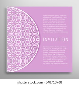 invitation card lace border pattern mandala stock vector royalty