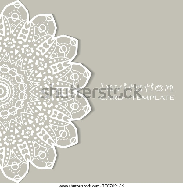Invitation Card Template Lace Mandala Border Stock Vector