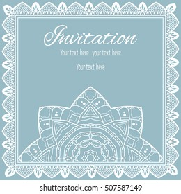 Invitation or Card template with lace pattern, mandala element. Decorative abstract geometric background. Luxury postcard for Wedding, Bridal, Valentine's day, greeting cards, Birthday Invitations