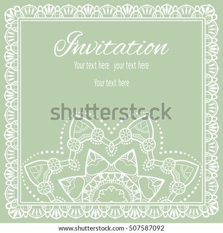 Invitation Card Template Lace Pattern Mandala Stock Vector Royalty