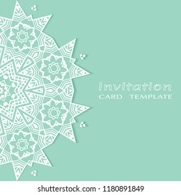 Invitation or Card template with lacy border pattern, cutout paper, mandala frame element. Decorative openwork filigree art, lace background for Wedding, Valentine's day greeting cards, Birthday Invit
