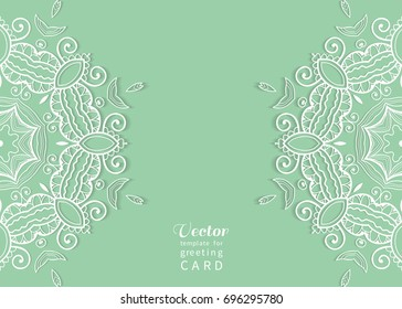 Invitation or Card template with mandala border element. Floral geometric lace pattern. Decorative abstract art background, template for Wedding, Valentine's day greeting cards, Birthday Invitations
