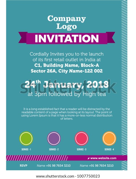 Invitation Card Template Office Corporate Get Stock Vector