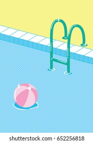Invitation card template with pool float. Summer pool illustration.