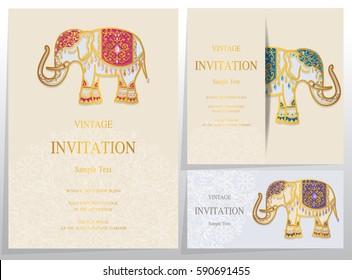 Invitation card templates with gold Elephant patterned and crystals on paper color.