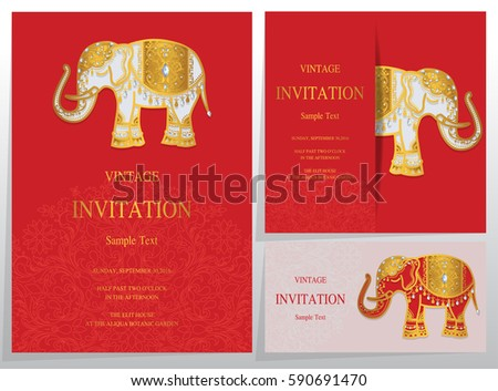 Elephant Template | Invitation Card Templates Gold Elephant Patterned Stock Vector