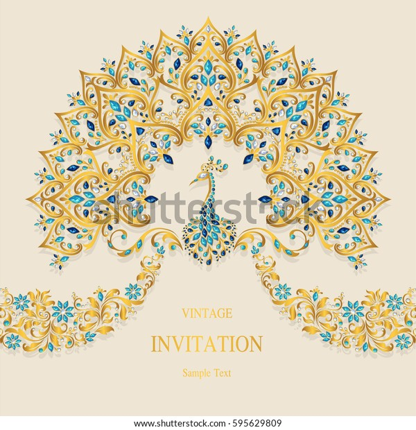 Invitation Card Templates Gold Peacock Patterned Stock
