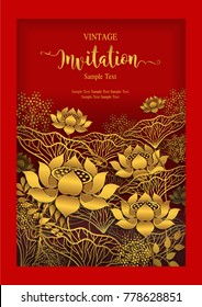 Invitation card templates with golden beautiful lotus flower patterned on red background color.