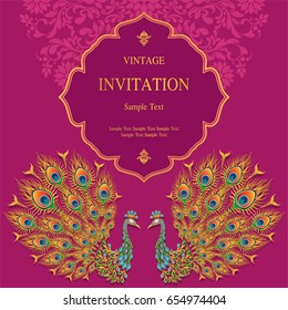 Invitation card templates with peacock patterned and crystals on paper color.