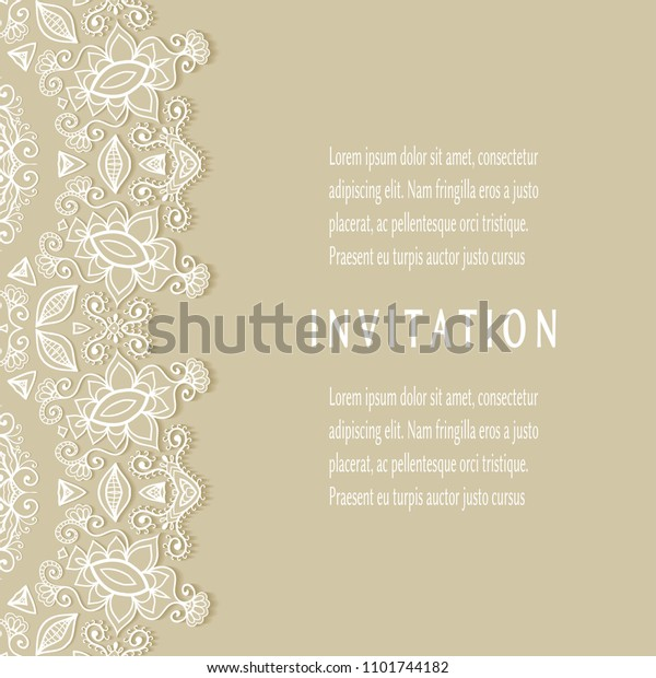 Invitation Card Templates Set Lacy Border Stock Vector (Royalty ...