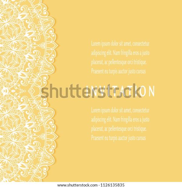 Invitation Card Templates Set Lacy Border Stock Vector (Royalty ...