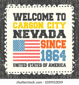 """Invitation card with text """"Welcome to Carson City, State Nevada. Since 1864"""" with american flag on grunge postage stump.  Retro card. Typography design. vector illustration"""