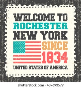 "Invitation card with text ""Welcome to Rochester, State New York. Since 1834"" with american flag on grunge postage stump. Retro card. Typography design. vector illustration"