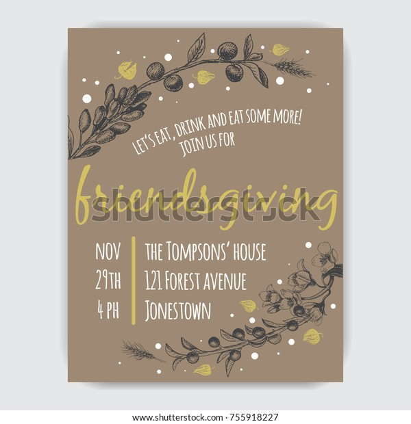 Invitation Card Thanksgiving Dinner Circle Friends Stock
