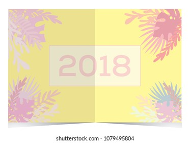 Invitation card with tropical theme. Vector art illustration.
