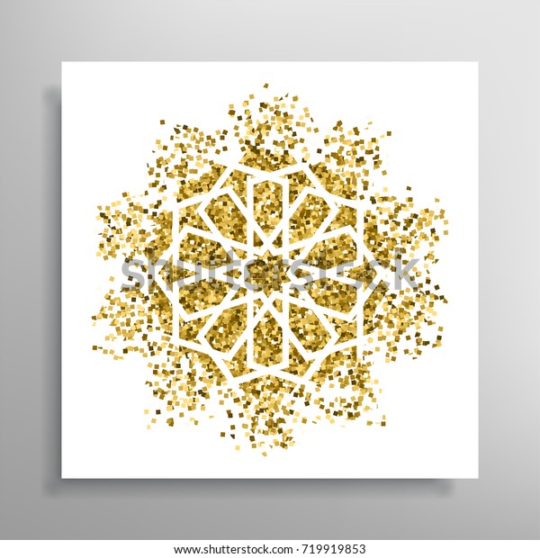 Invitation Card Vector Template Golden Islamic Backgrounds