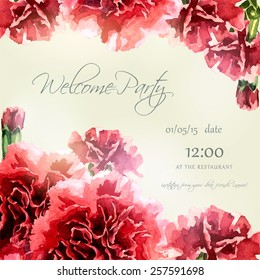 Invitation card with watercolor carnation frame. Wedding card. Floral background. Elegance pattern with flowers. Vintage vector illustration, eps 10