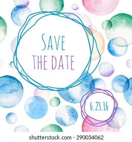 Invitation card with watercolor soap bubbles and Save The Date text. Vector illustration