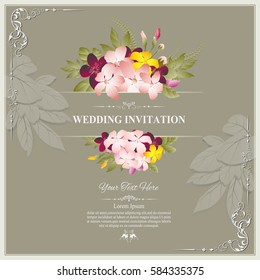 Wedding invitation card template pale pink em vetor stock 591446039 invitation card or wedding card with floral pattern on background contemporary vintage art frame stopboris Gallery