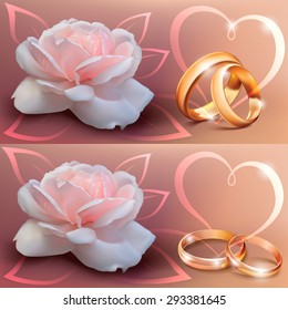 Invitation card for wedding with flower, ribbon and wedding rings