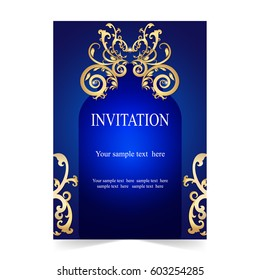 Royal invitation images stock photos vectors shutterstock invitation card wedding card with ornamental on blue background stopboris Choice Image