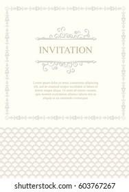 Invitation card, wedding card with ornamental on soft background