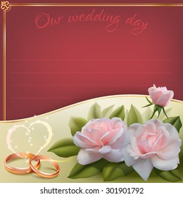 Invitation card for wedding with roses, ribbon and wedding rings