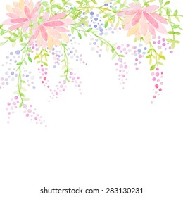 Invitation card for wedding with watercolor flowers