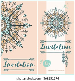 Invitation cards in a boho and tribal style. Vector format. With mandala illustration. Design project