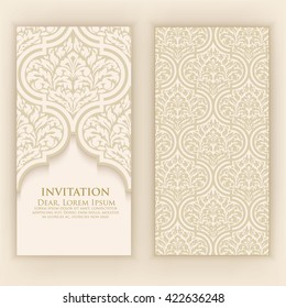 Invitation, cards with ethnic arabesque elements. Arabesque style design. Business cards. eps10