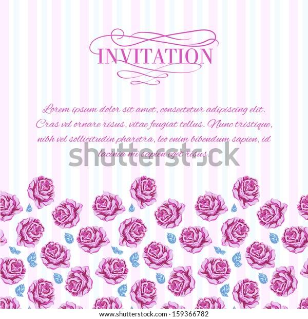 Invitation Cards Flowers Lines Vector Illustration Stock