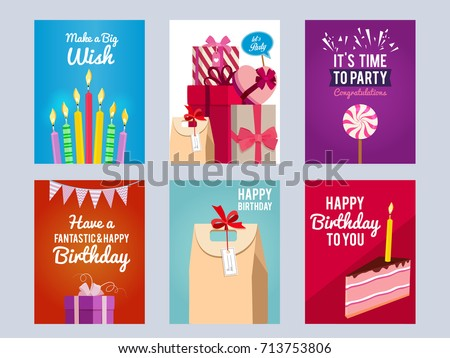 Invitation Cards For Kids Birthday Party Vector Design Template With Place Your Text
